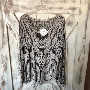 Simply Couture lace sheer blouse NWT